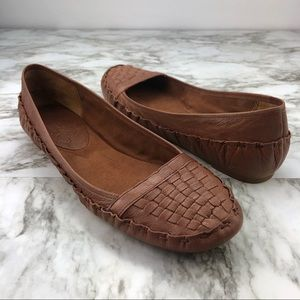 Nine West Brown Tan Woven Leather Moccasin Flats